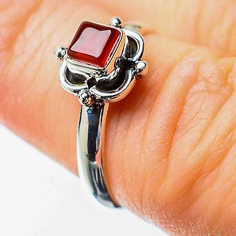 Red Onyx Ring Size 6.25 (925 Sterling Silver)  - Handmade Boho Vintage Jewelry RING25559