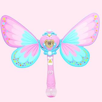 Electric Magic Wing Wand Automatic Soap Bubble Blowing Gun Blower Machine - Light Music Funny Outdoor Girls Toys For Kids Gifts