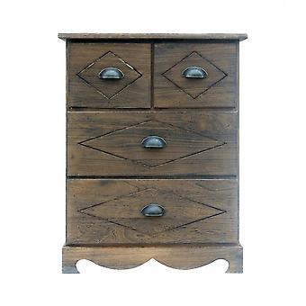 REBECCA Möbelschrank Nachtstand Brown Shabby Vintage Retro 4 Schubladen Wohnzimmer