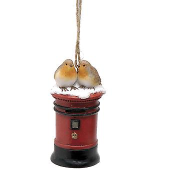 Single 8cm Christmas Robin Hanging Decoration - Postbox Design