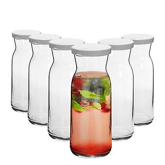6 Piece Brocca Glass Water Carafe with Lid Set - Decanter Jug for Water, Wine, Iced Tea - 700ml