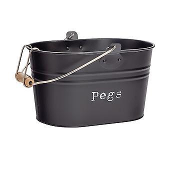 Industrial Laundry Peg Bucket - Vintage Style Steel Kitchen Storage Tub with Hook, Handle - Black