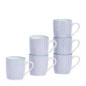 Nicola Spring 6 Piece Geometric Patterned Tea and Coffee Mug Set - Small Porcelain Cappuccino Cups - Navy Blue - 280ml