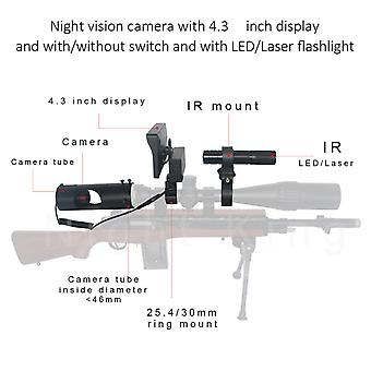 Night vision camera with 4.3 inch display and with/without switch and with LED/Laser flashlight for rifle hunting