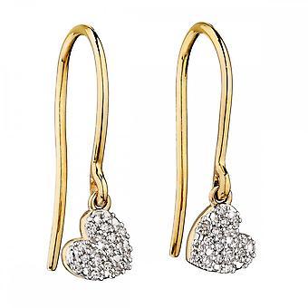 אלמנטים זהב מנופף עגילי לב יהלום GE2235