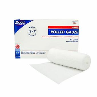 Dukal Fluff Bandage Roll Cotton 2-Ply 4 Inch X 5 Yard Roll Shape Sterile, 12 Bags