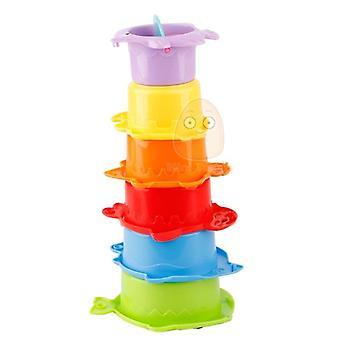Stack Cup Jouets éducatifs pour bébés, Rainbow Color Figures Folding Tower Puzzle