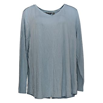 H by Halston Women's Plus Top Essentials V-Neck Long Sleeve Blue A345773