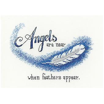 Heritage Crafts Cross Stitch Kit - Angels Are Near When Feathers Appear (Aida)