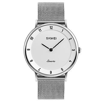 SKMEI 1264 Casual Style Ultra Thin Men Watch Stainless Steel Wristband Quartz