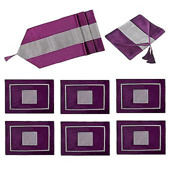 Diamante Velvet Table Runner + Dining Placemats Table Place Mats Décor 7 Pcs 83""