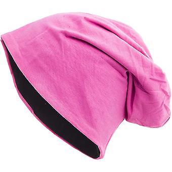 Shenky 2-gekleurde zwart roze omkeerbare Jersey Beanie
