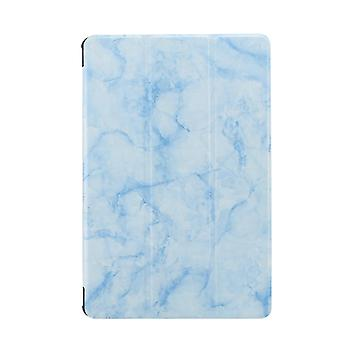 For Samsung Galaxy Tab A7 T505 Marble Texture Pattern Horizontal Flip Leather Case, with Three-folding Holder & Sleep / Wake-up(Blue)