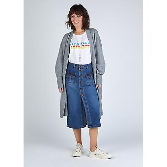 Linzi button down organic denim skirt - blue