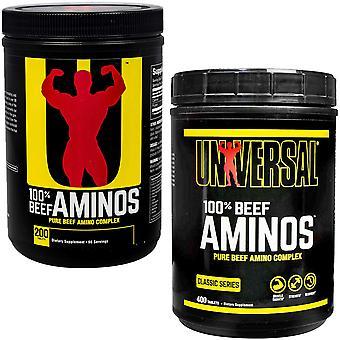 Universal Nutrition 100% Aminos de bœuf, disponible en 200 et 400 comprimés tailles