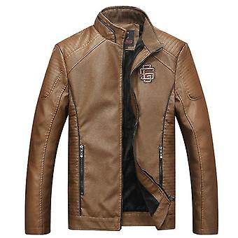 Faux Leather Jackets, Men Classic Motorcycle Bike Coat Male, Velvet Thick Coats