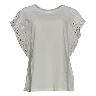 Belle af Kim Gravel Kvinder's Top Strik Flutter Sleeve Lace Trim Hvid A351613
