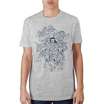 Teenage mutant ninja turtles character outline t-shirt