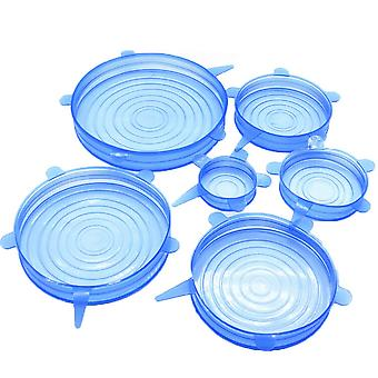 6 Piece Kitchen Silicone Stretch Preservation Fresh-keeping Cover Blue