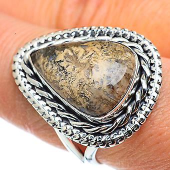 Fossil Coral Ring Koko 9 (925 Sterling Hopea) - Käsintehty Boho Vintage Korut RING43281