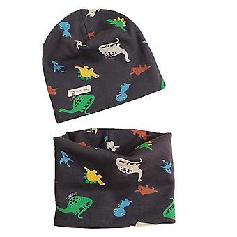 סט צעיף כובע סתיו/חורף - כובע שעועית גולגולות תינוק