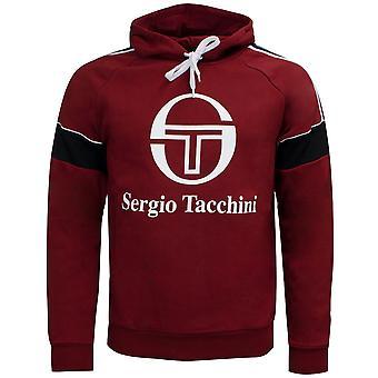 Sergio Tacchini Mens Dealtry Hoodie Grafisk Logo Jumper Bourgogne 38364 650