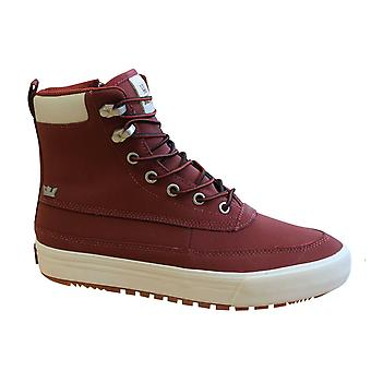 Supra Oakwood Red Leather Lace Up Side Zip Mens Hi Top Trainers 08069 657