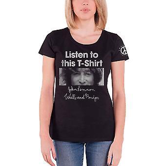John Lennon T Shirt Listen to this T-Shirt new Official Womens Skinny Fit Black