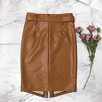 Φθινόπωρο, Χειμερινό Μολύβι Midi Φούστες, Υψηλή Μέση, Pu Δέρμα, Split Περιτύλιγμα Θήκη
