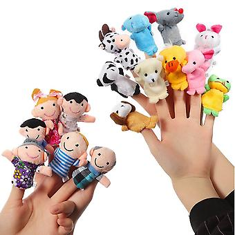 Thinkmax 16 pcs finger puppets -10 animals + 6 people family members puppet set for babies and toddl