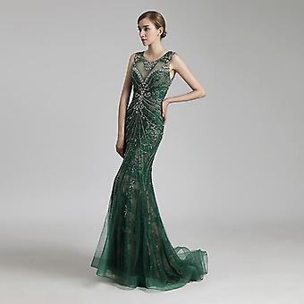 Lange zeemeermin vintage stalen tule vrouwen jurken jurk