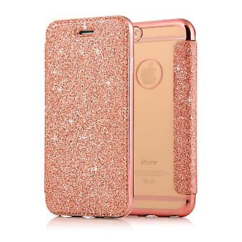 Kaartsleuf Shiny Flip Case Cover voor Apple iPhone 7/8 - Rose Gold