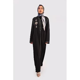 Djellaba ouarda hooded embroidered maxi dress kaftan in black