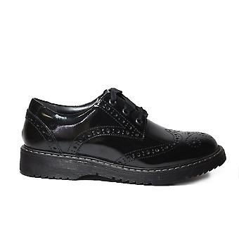 Startrite Impulsive Black Patent Leather Girls Lace Up Brogue School Shoes