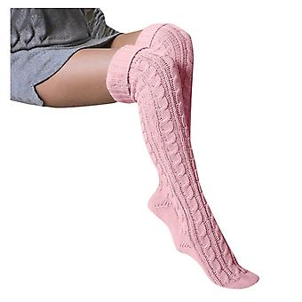 Kadın çorap uzun pamuk sıcak uyluk diz örgü çorap üzerinde yüksek