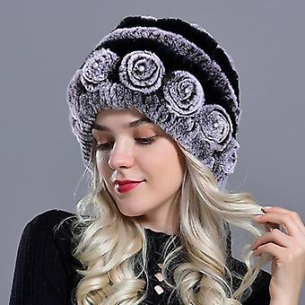 Women's Warm Rabbit Fur Hats With Pearls Fashion Striped Unique Design