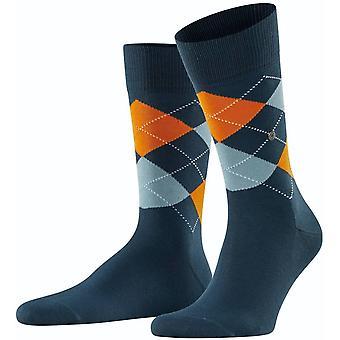 Burlington Manchester Socks - Indigo/Orange