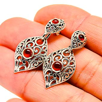 "Red Onyx Earrings 1 1/4"" (925 Sterling Silver)  - Handmade Boho Vintage Jewelry EARR411096"