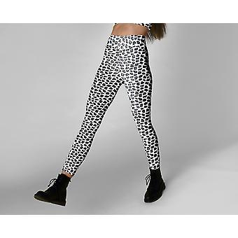 Zwart-witte luipaard print hoge taille leggings