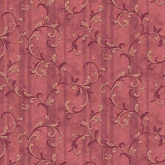 Long Grandeco Red Gold Damask Wallpaper