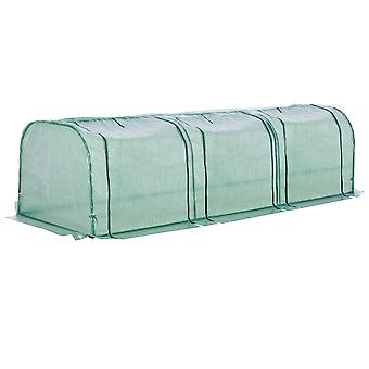 Outsunny PE Tunnel Greenhouse Green Grow House Steel Frame for Garden Backyard with Zipper Doors 300x100x80 cm Green