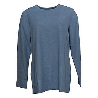 Susan Graver Women's Top Waffle Knit Tunic W/ Pockets Blue A383189