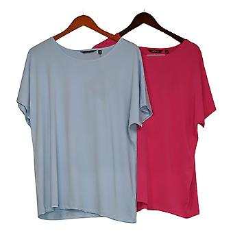 IMAN City Chic Women's Plus Top 2-pack Tee Blue / Pink 719-484