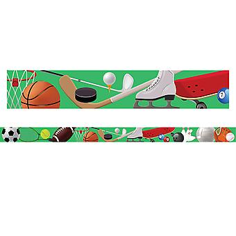 "Borders/Trims, Magnetic, Rectangle Cut - 1-1/2"" X 24"", Sports Theme, 24' Per Pack, 2 Packs"