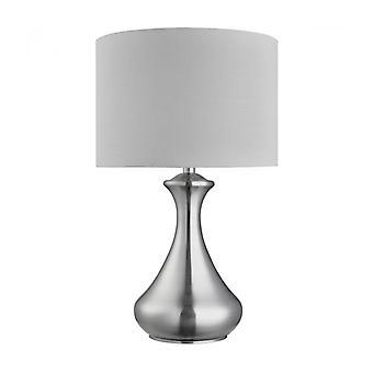Lámpara De Mesa Touch Lamps 40 Cm, En Plata Satinada, Pantalla Blanca