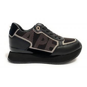 Sneaker Running Apepazza Mod. Raina Wedge Leather Bottom/ Women's Black Fabric D21ap06