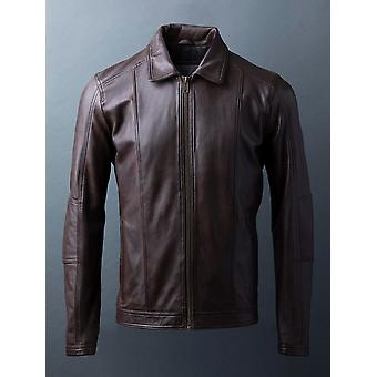 Rothay Collared Leather Jacket en marrón