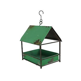 Distressed Finish Green Metal Hanging Bird Feeder With Roof
