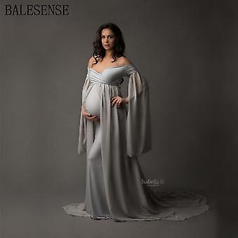 Chiffon Maxi Maternity Gown Dress For Photo Shoot Sexy Shoulderless Pregnant