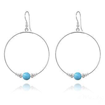 Large hoop silver turquoise pearl earrings with swarovski crystal
